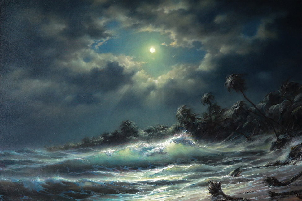 The Moon and Waves