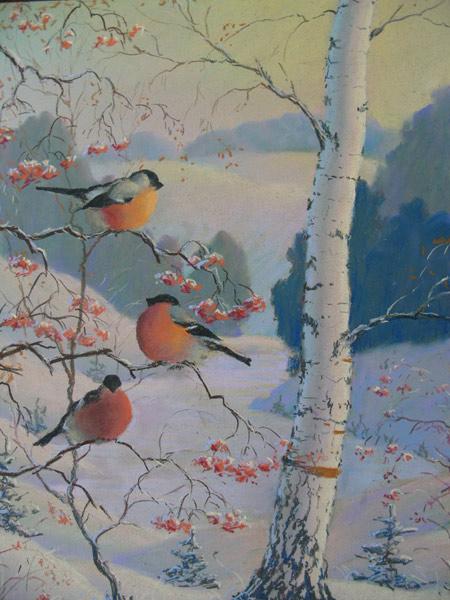 Картины  со снегирями