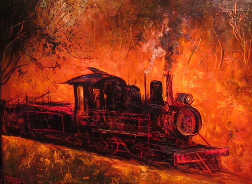 painting evening the steam locomotive