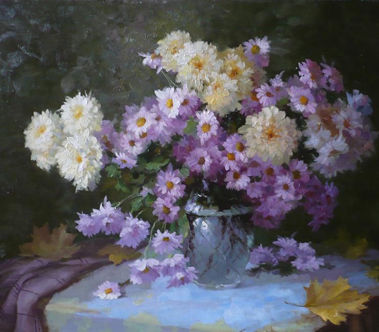 Картина с хризантемами