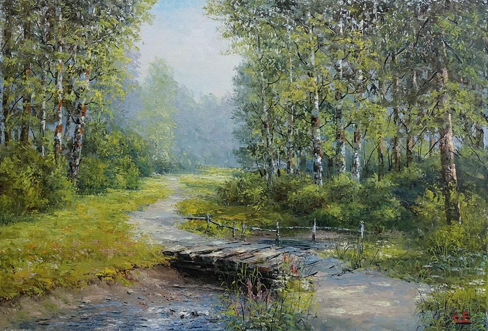 Пейзаж с березами