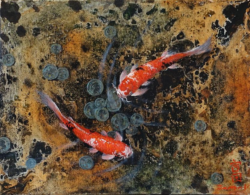 галерея картин  с изображением японских карпов