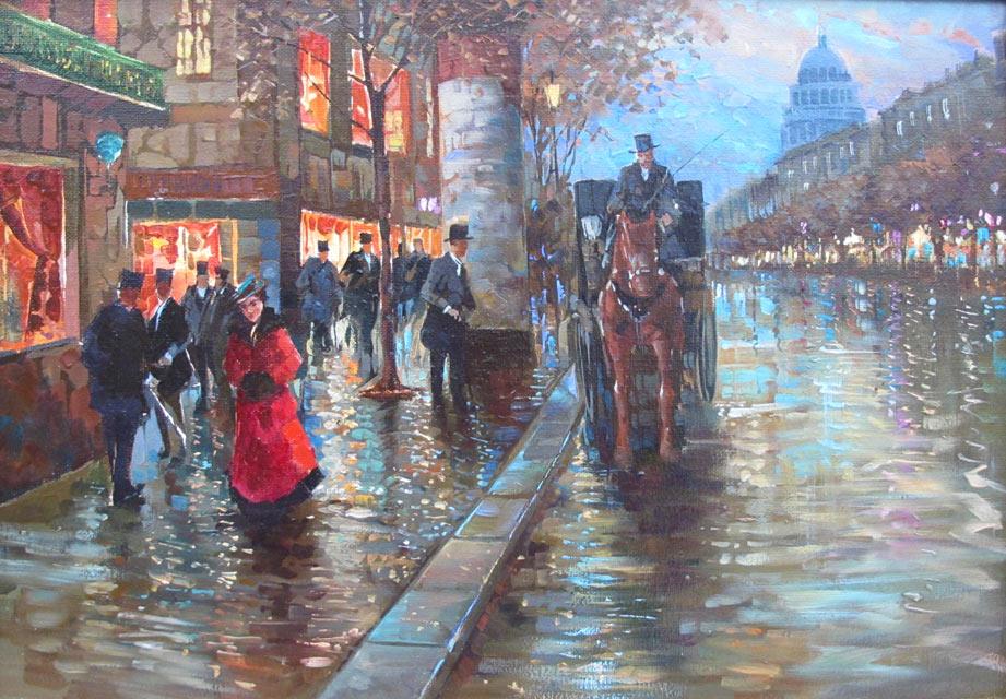 Парижский бульвар после дождя