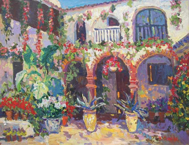 художник  Сокова Жанна,  Испанский дворик