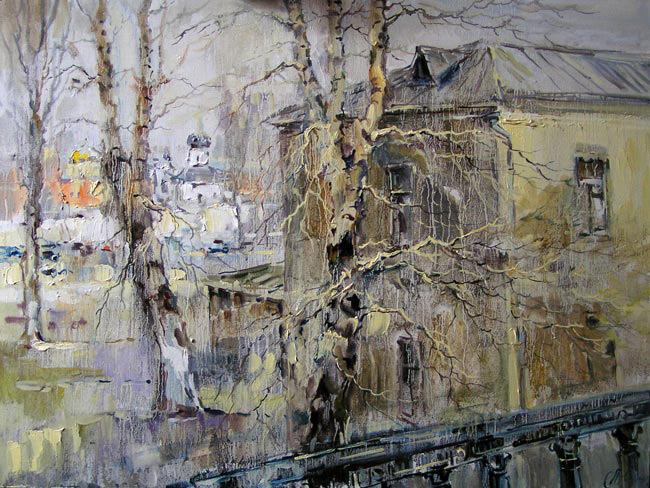 картина Чариной Анны «Золотая весна. Вид с Крымского моста», 2010