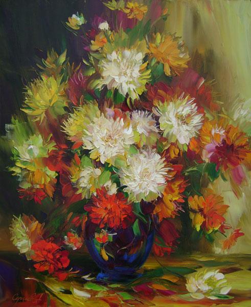 Картины  с  хризантемами