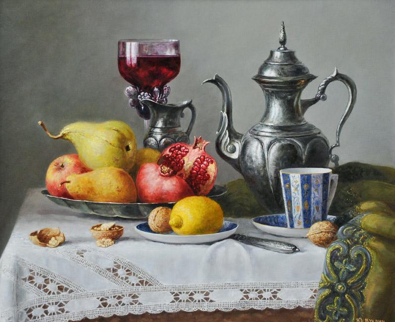 картина Юрия Кудрина « Натюрморт с серебряным кувшином»