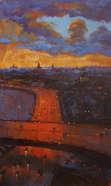 Картина заката в городе
