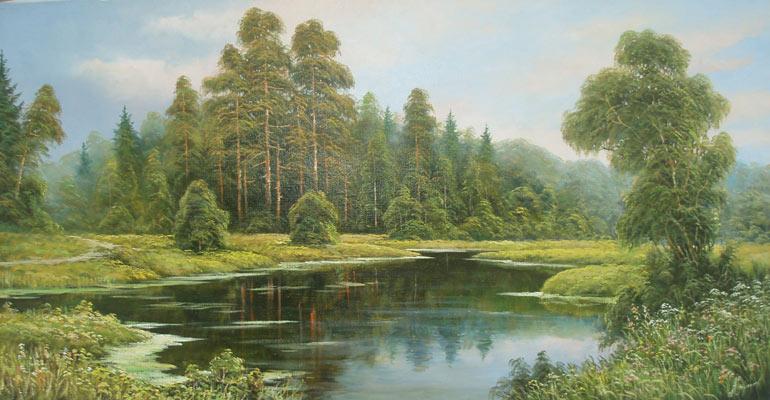 летнее лесное озеро