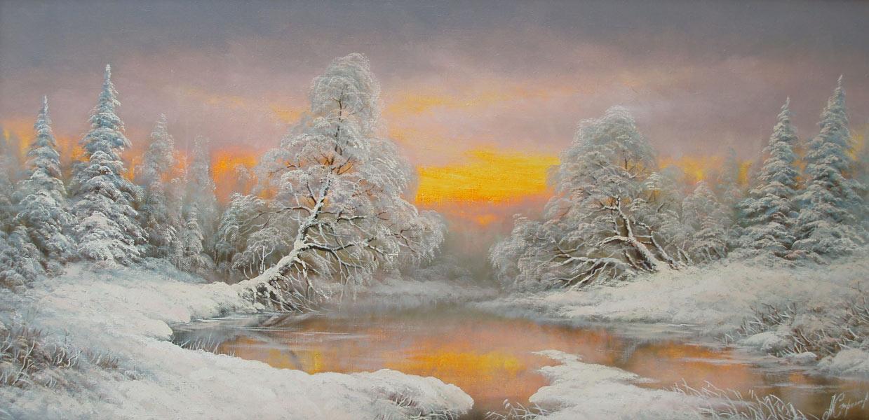 зимний пейзаж леса