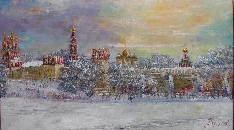 Зимний пейзаж.  Новодевичьего монастыря