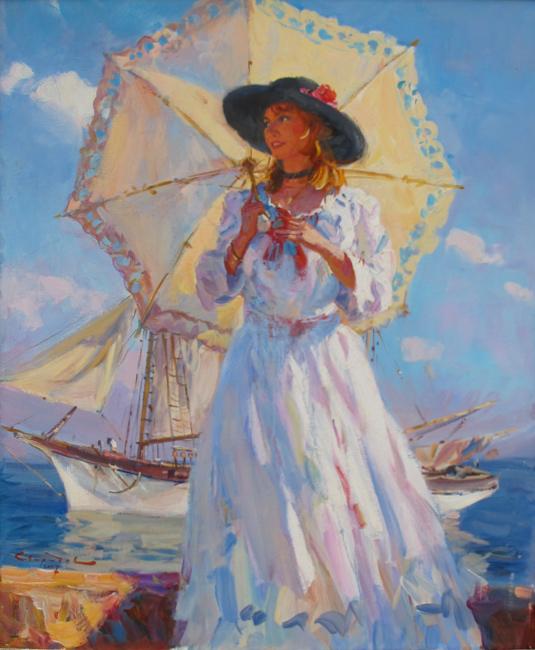 картина  Свиридова Сергея Алексеевича  «У причала  »