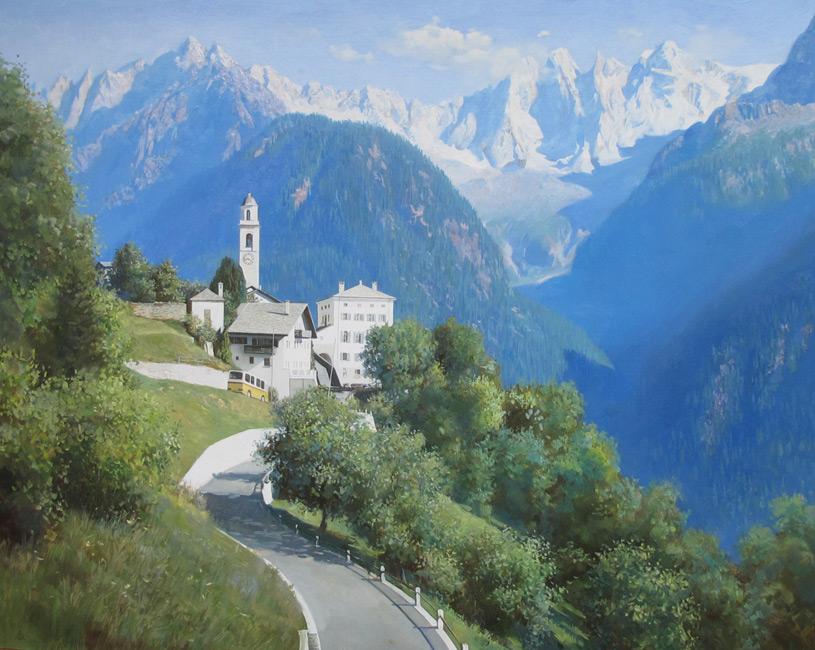 художник  Мамазиев  Алик,  Туристическая база в Альпах