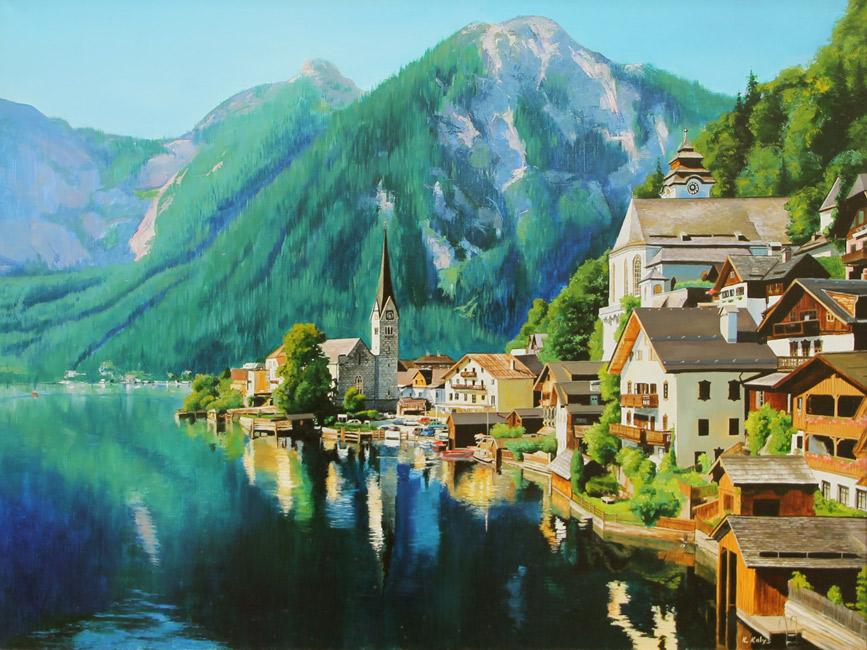 художник  Мамазиев  Алик,  Австрия. Озеро Арлберг