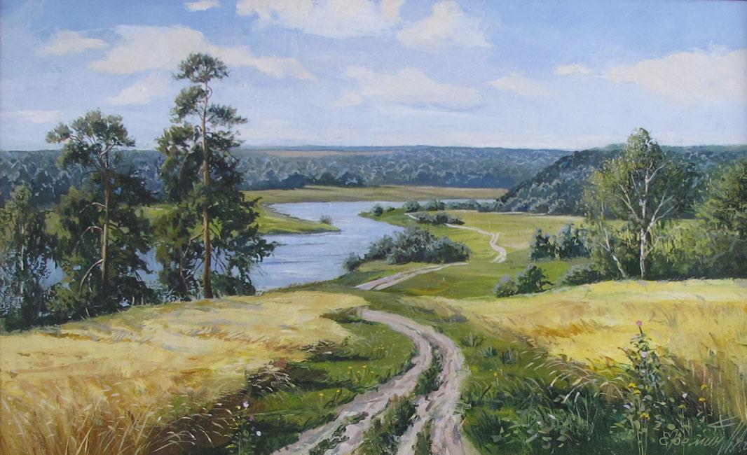 картина с сельским пейзажем